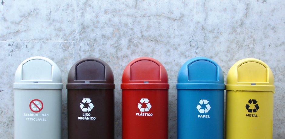 Separando lixo para reciclagem